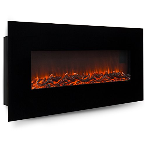 Best Choice Products 50in Indoor Electric Wall Mounted Fireplace Heater w/ Adjustable Heating, Metal-Glass Frame - Black