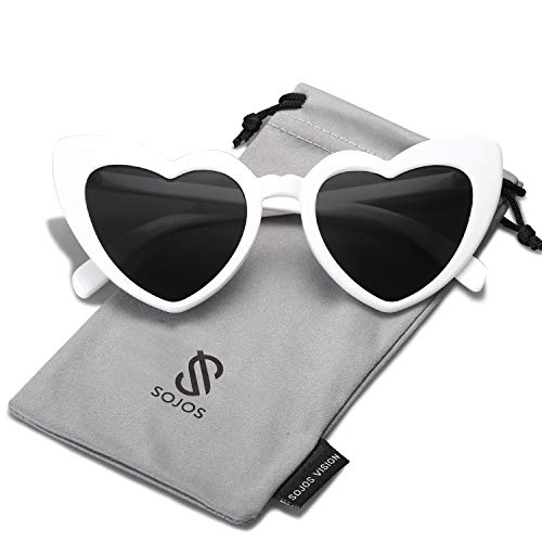 SOJOS Heart Shaped Sunglasses Clout Goggle Vintage Cat Eye Mod Style Retro Glasses Kurt Cobain SJ2062 with White Frame/Grey ()