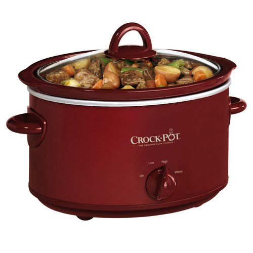 Crock-Pot SCV401TR 4-Quart Oval Manual Slow Cooker, Red