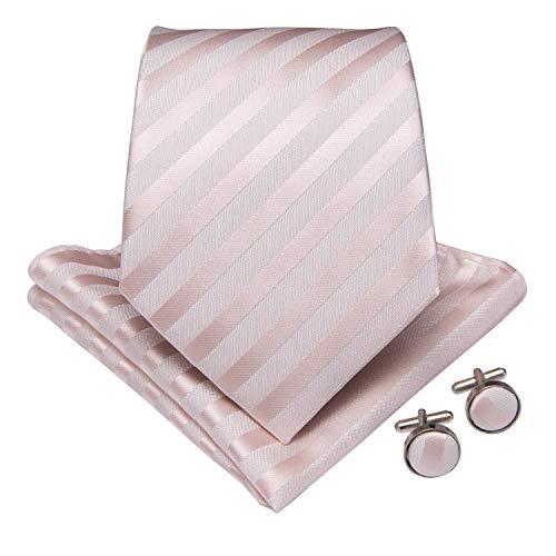 DiBanGu Pink Tie for Men Silk Solid Striped Necktie Pocket Square Cufflink Tie Clip Set Wedding