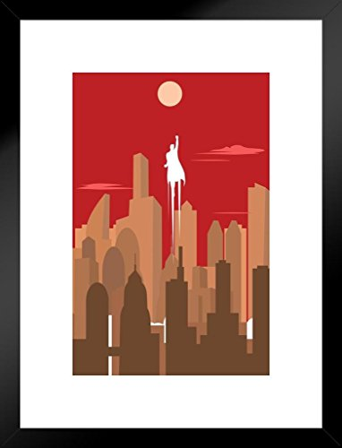 Poster Foundry Superhero Silhouette Art Deco Skyline Retro Art Print Matted Framed Wall Art 20x26 ()