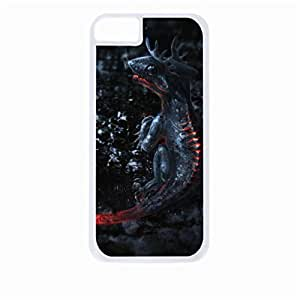 Black Dragon- Hard White Plastic Snap - On Case-Apple Iphone 5 - 5s - Great Quality!
