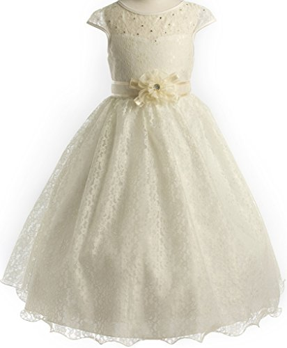 ivory a line chiffon and organza flower girl pageant dress - 9