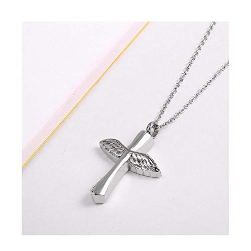Hongyuantongxun Angel Personalized Necklace Stainless Steel Cylinder Cremation Ashes Souvenir Commemorative Pendant Jewelry - Three Colors Optional Gold Diameter 1.1 Inches (Color : Silver)