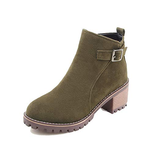 AgooLar Women's Closed-Toe Kitten-Heels Frosted Low-Top Solid Boots, GMDXB116128 Army Green