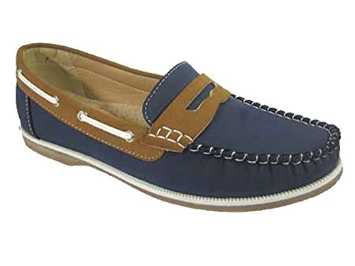 Faux 6 Shoes 4 Deck Leather 8 UK Tan Sizes Coolers Nubuck Loafer Slip Navy Boat Up Lace Ladies On F5qSOzx