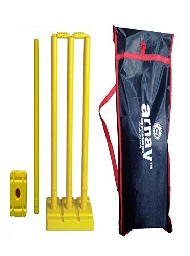(Plastic Cricket Stumps with 4-Stumps, 2 Balles, 1-Base in 3 Stumps, 1 Base of Single-Stump Bowler Side with Tartron Cover, Full Size)