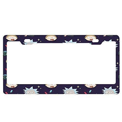 Customized Frames Rick and Morty Pattern License Plate Frame 2 Holes, Aluminum Metal License Plate Cover, Novelty Car Tag Holder for US Vehicles