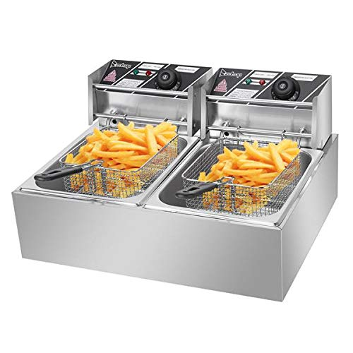 ZOKOP EH82 Double Deep Fryer Thickened Cylinder Electric Deep Fryer 2 Baskets, Stainless Steel Chicken Chips Fryer for French Fries Home Kitchen Restaurant Countertop Food Cooking, 12.7QT/12L 5000W MAX Silver (Double Deep Fryer Commercial)