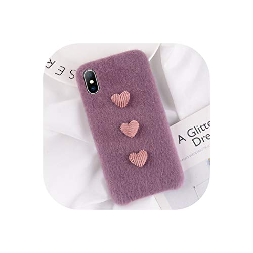 Wenzi-Day Phone Case for iPhone X XR XS Max 8 7 6 6s Plus DIY Warm Fuzzy Love Heart Plush Back Cover Cases for iPhone X,Purple,for iPhone Xs MAX