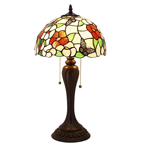 Tiffany Lamp Pink Stained Glass Butterfly Lampshade Style Table Reading Lamps Wide 12 Height 22 Inch for Living Room Antique Desk Beside Bedroom S275 WERFACTORY