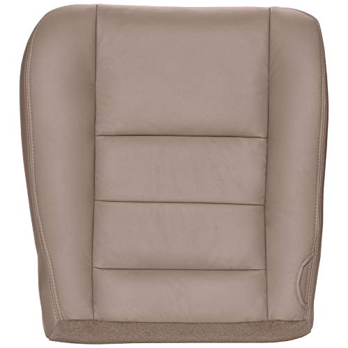The Seat Shop Driver Bottom Replacement Leather Seat Cover - Medium Pebble Tan (Compatible with 2005-2007 Ford F250 and F350 Lariat Crew Cab, and 2005 Ford Excursion Limited and XLT)