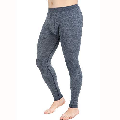 (Wool Skiing Tights - Thermal Lightweight Compression Leggings Base Layer - Warm Ski Underwear (Large, Grey))