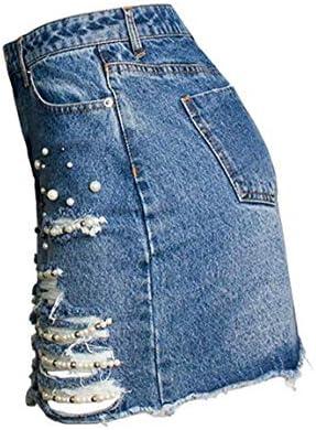 MJY Productos para adultos Falda corta casual de mezclilla rasgada ...