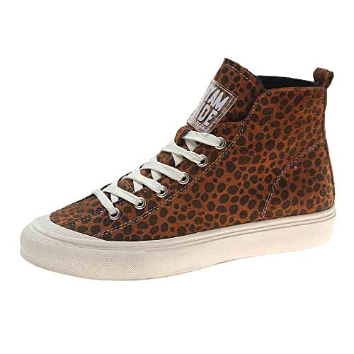 Women's Canvas Shoes Cotton Casual Shoes Round Head Flat with Velvet Warm Leopard Boots