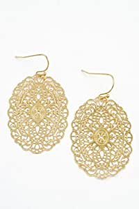 Karmas Canvas Oval Filigree Textured Earring (Gold)