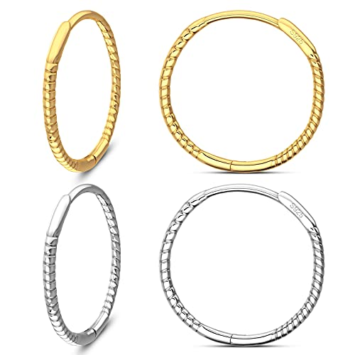 UHIBROS 2 Pairs Hoop Earrings for Women, Gold and Silver High Polished Classy Twisted Hoop Earrings Hypoallergenic Circle Earrings For Girls Fashion Jewelry