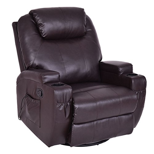 TANGKULA Massage Sofa Chair Recliner Heated Rocking Swivel w