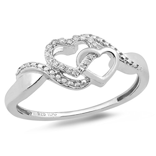 Diamond Promise Ring in Sterling Silver 1/20 cttw-Size 8