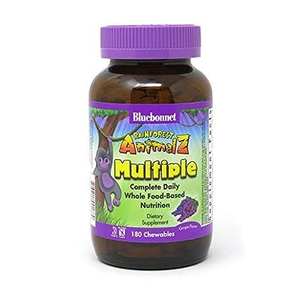 Bluebonnet Nutrition Rainforest Animalz Whole Food Based Multiple Chewable Tablets, Kids Multivitamin & Mineral, Vitamin C, D3, Iron, Gluten Free, Milk Free, Kosher, 180 Chewable Tablets, Grape Flavor