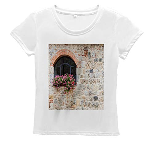 Lunarable Tuscan Women's T Shirt, Abandoned Old Stone Building, Short Sleeve Top