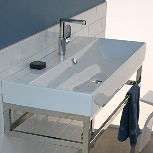 Wall-mount, vanity top or self-rimming porcelain wide-bowl Bathroom Sink with an overflow. 01 - one faucet hole, W: 47 1/4