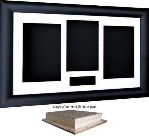 BabyRice 14.5x8.5 Black Shadow Box 3D Medal Keepsake Casts Flowers Display Frame/White 4 Aperture Mount/Black backing - by 701.WHT4.BLKBKG.FRAME