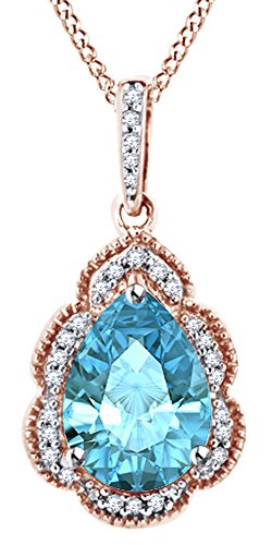 Pear Cut Simulated Blue Topaz With White Diamond Halo Pendant Necklace In 10K Solid Rose Gold by AFFY