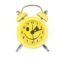 Alarm Clock,CieKen Emoji Emoticon Twin Bell Silent Alloy Stainless Metal Alarm Clock (Pattern E)