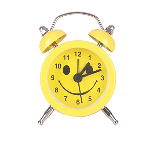 Alarm Clock,CieKen Emoji Emoticon Twin Bell Silent Alloy Stainless Metal Alarm Clock (Pattern E)