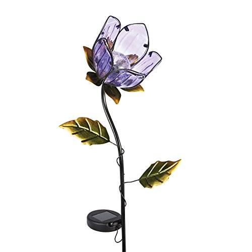 ART & ARTIFACT Lighted Purple Flower Glass & Metal Garden Stake - Solar Powered Light-Up - 36