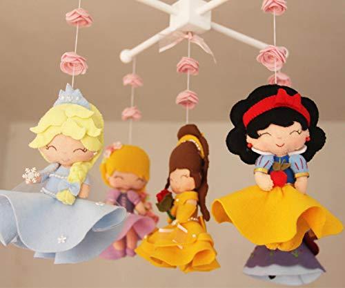 Baby Crib Mobile - Princess- Nursery Princess Mobile -Rapunzel,Snow Whithe,Anna,Elsa,Beauty
