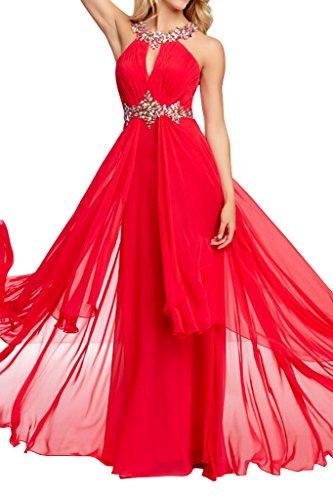 Chiffon Neckholder A Promkleid Linie Lang Rot Abendkleider Festkleid Damen Rueckenfrei Ivydressing qBPFT7