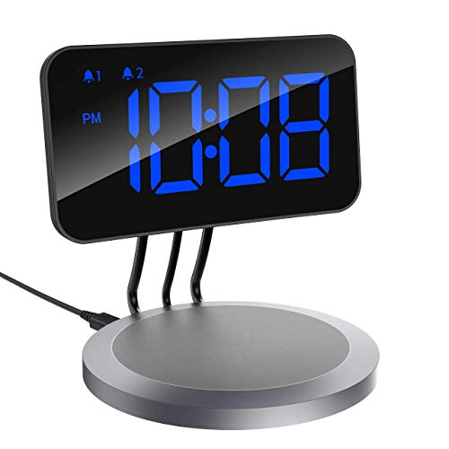 rging Alarm Clock with 5W Wireless Charging Pad, 4.7 inch Alarm Clock Compatible with All Qi-Enabled Phones, Dual Alarm Clock with Snooze Button, Adjustable Dimmer, 12/24H, Blue ()