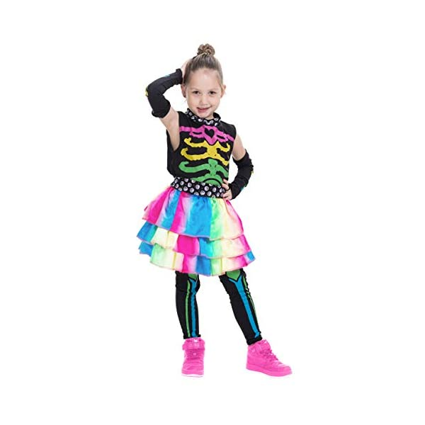 Funky Punky Bones Colorful Skeleton Deluxe Girls Costume Set with Hair Extensions for Halloween Costume Dress Up Parties. 7