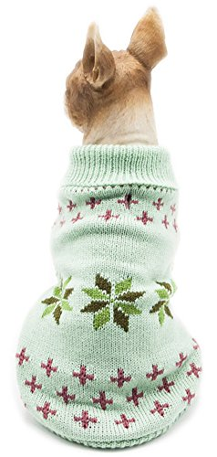 MaruPet Christmas Pet Dog Snowflake Sweater Ribbed Knitwear Turtleneck Halloween Coat Apparel for Teddy, Pug, Chihuahua, Shih Tzu, Yorkshire Terriers, Papillon Green #10 - Small ()