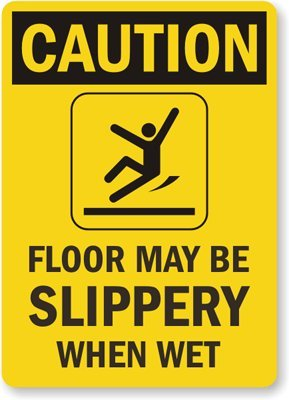 Amazon.com: Caution: Piso puede ser Slippery When Wet (con ...