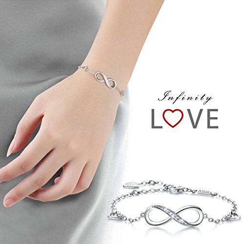 Billie Bijoux Womens 925 Sterling Silver Infinity Endless Love Symbol Charm Adjustable Bracelet Gift for Women Girls (A- Silver) by Billie Bijoux (Image #4)