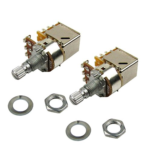 Musiclily B500k Push Pull Split Knurled Short Shaft Metric 15mm Linear Taper Guitar Volume Switch Control Pot Potentiometer for Guitar Bass Parts, Chrome (Pack of 2) ()