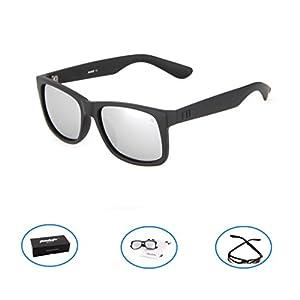 Tacloft Polarized Sunglasses 54mm Classic Wayfarer Eyewear Shade tl6001 (Black frame/Silver Lens)