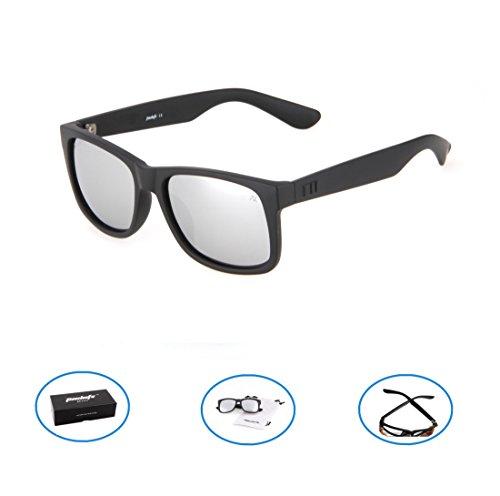 Tacloft Polarized Sunglasses 54mm Classic Wayfarer Eyewear Shade tl6001 (Black frame/Silver - 54mm Wayfarer