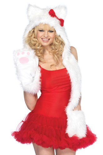 Leg Avenue Plush Wolf Hoody with Paw Scarf, White, One Size (Sexy Wolf Woman Costume)