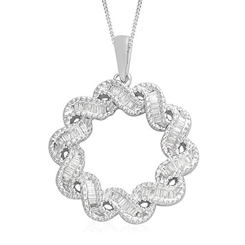 Baguette Diamond Chain Pendant Necklace 925 Sterling Silver Gift Jewelry for Women Size 18