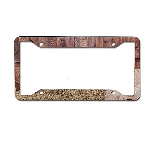 Customized Personalized Luxury Premium Barn Wood Wagon Wheel Old Horse Planks Decorative Car License Plate Cover Frame Shields,Standard Non Anti-Theft Model(6