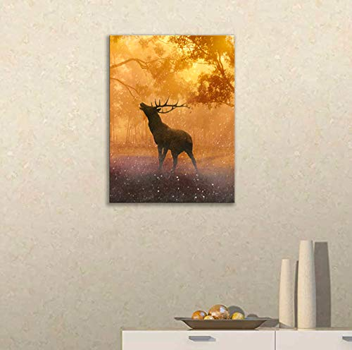 Deer Canvas Wall Art for Living Room Bathroom Buck and Sika Prints Painting 12×16 Inch in 2 Pieces Brown Wall Pictures Deer Decorations for Home Decor Autumn Forest Scenic with Frame Ready to Hang
