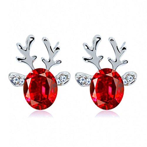Tuscom Crystal Gemstone Earrings Luxury Three-dimensional Christmas Reindeer Antlers Earrings Gift (Red) (Antler Christmas Tree For Sale)