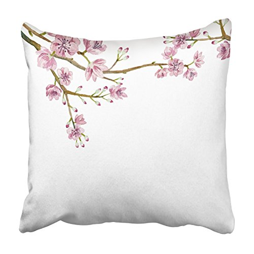 Asian Border Square Banner (Emvency Square Throw Waist Pillow Case 16x16 Inches Decorative Cushion Pillowcases Watercolor sakura japanese flowers Throw Pillow Cover With Hidden Zipper For Bedroom Decor Sofa Couch)
