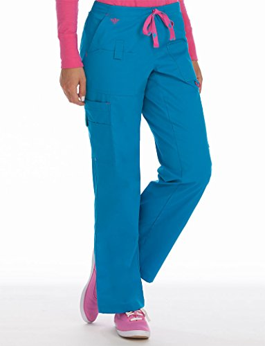 Med Couture Women's Rescue Scrub Pant, Harbor Blue/Azalea, Large - Pant Azalea Cargo