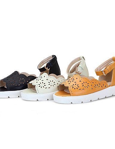 ShangYi Womens Shoes Flat Heel Peep Toe / Open Toe Sandals Outdoor Black / Yellow / White Yellow