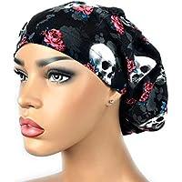 c71a2a51842 Women s Black Surgical Scrub Hat Nurse Ponytail Adjustable Euro Bouffant  Skulls Roses DK Scrub Hats